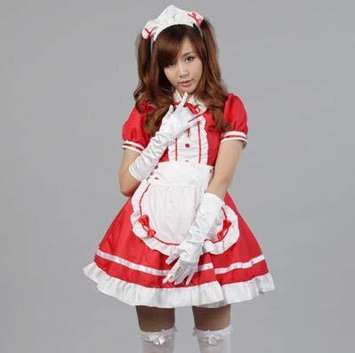 WSJDE Sexy Französisch Maid Kostüm Sweet Gothic Lolita Kleid Anime Cosplay Sissy Maid Uniform Plus Größe Halloween Kostüme Für Frauen XXL (Plus Größe Sexy Maid Kostüm)