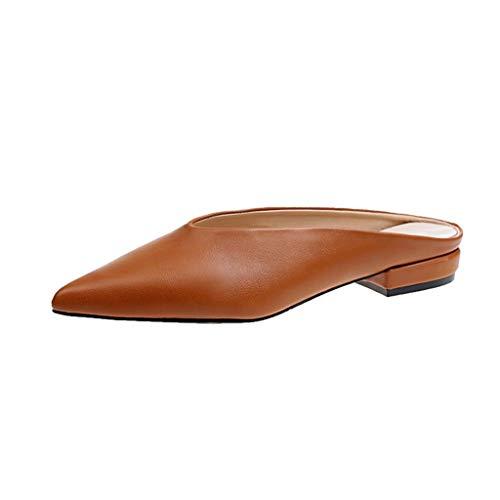 Förderung Damen Spitz Sandalen Slingback Kitten Absatz Pointed Toe Pumps Mittlere Fersen Bequeme Schuhe Sommer Flip Flops Hausschuhe Slipper Strand Schuhe (EU:36, Khaki) (Flip-flops Fersen)