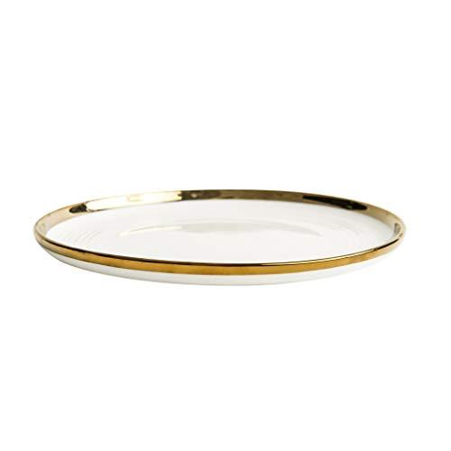 ZH-Suppenteller Keramikteller Der Hochwertige Flache Teller Mit Goldrandgeschirr Für Haushalt Und Gastronomie (größe : 10 Inch) - Glas Zoll 10 Mikrowelle