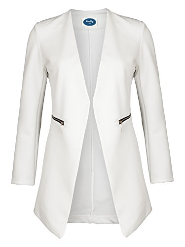 4tuality AO Long Blazer kragenlos mit Zipper weiß Gr. S