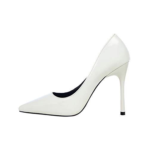 Sexy Frauen-Absatz-Leder-Frauen-Pumpen Spitze Zehen Metallic Damen Brautschuhe, weiße Pumps, 8 (Rockport-pumpen-frauen-schuhe)