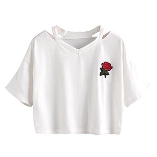 LILICAT Frauen Sommer Crop Top Mode T-Shirt Rose Blumen Gedruckt Shirt Kurzarm Bluse Damen Vintage Oberteile V-Ausschnitt Freizeit Weste Ladies Chic Tops Baumwolle Hemden (M, Weiß)