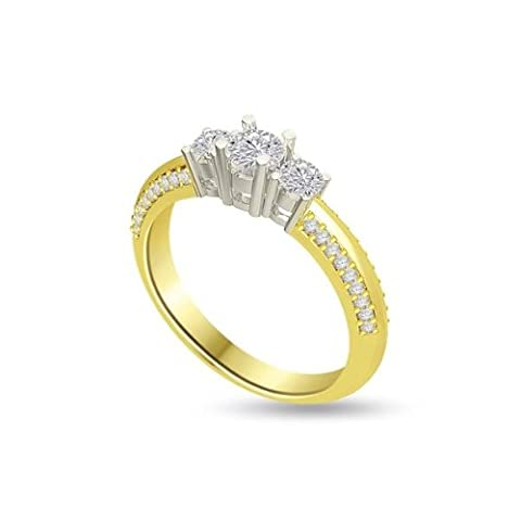 0.80ct H/SI1 Diamond Trilogy Promise Ring for Women with Round Brilliant cut diamonds in 18ct White Gold & Yellow