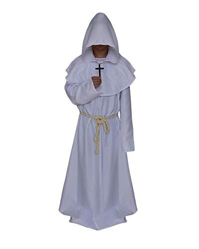 (Männer Halloween Mönche Robe Nonnen Pastor Kleidung Christen Kirche Priester Cosplay Dress Coat Weiß M)