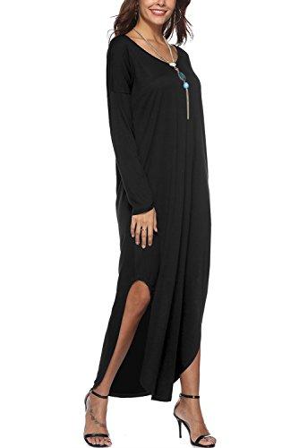 Bequemer Laden Damen Kleider Vintage Leicht Partykleid Casual Maxikleid Langarm Retro Cocktailkleid...