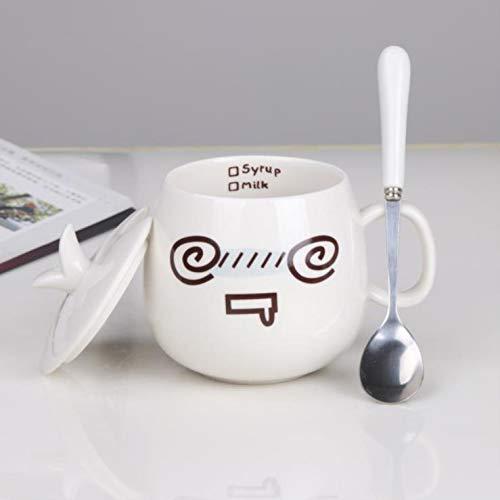ZTZT Keramiktasse mit Deckel Löffel Persönlichkeit Haushalt Frühstückstasse Europäischen Schlafzimmer Büro Tasse Kaffeetasse Kreative Weiß Bequem, Halo Mit Porzellanabdeckung (Exklusiver Löffel)