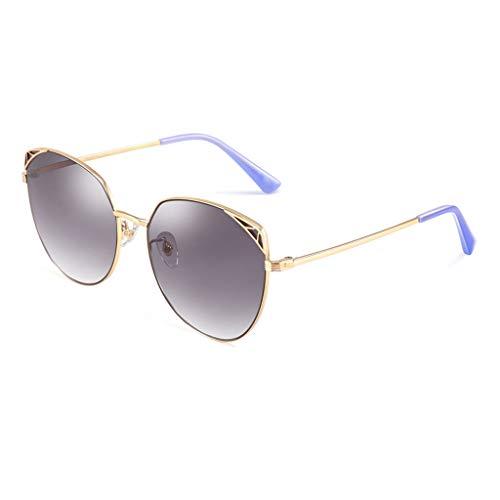 HAOHAOWU Mode Sonnenbrillen, Fahrspiegel Metall Katzenaugen großen Rahmen Nylon Objektiv Sonnenbrillen Damen,Gray