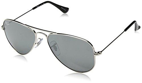 RAYBAN JUNIOR Unisex-Kinder Sonnenbrille Aviator Junior, Shiny Silver/Greysilvermirror, 52