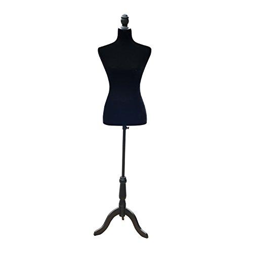 HomCom Maniquí Femenino de Costura Busto de Señora para Modistas Exhibición Negro Altura Ajustable a 130-168cm