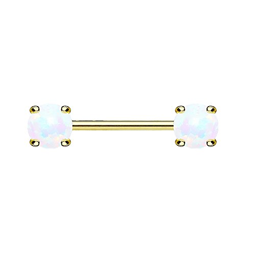 Piersando Brustwarzen Piercing Intimpiercing Nippelpiercing Brust Nippel Intim Barbell mit Opal Perlen Kugeln Gold 1,6mm x 12mm x 5mm Weiß