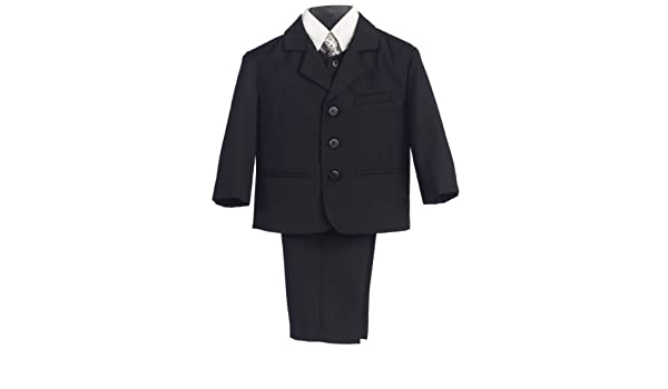 458780ad Lito 5 Piece Black Suit With Shirt, Vest, And Tie (16 Husky): Amazon.co.uk:  Clothing