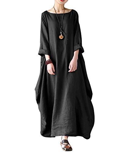 VONDA Damen Langarm Kleid Lange Größe Maxikleid Mittelalter Kaftan Kleider Schwarz 2XL (Damen Kleid Schwarz Schuhe)