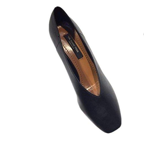 Brut Décontracté Avec Petite Bouche Carrée Avec Des Chaussures Basses En Cuir Simples Chaussures Confortables En Cuir Noir Doux