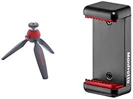 Manfrotto Pixi Trépied de table Rouge + Manfrotto MCLAMP Pince universelle pour Smartphone avec Pas de Vis 1/4 Noir