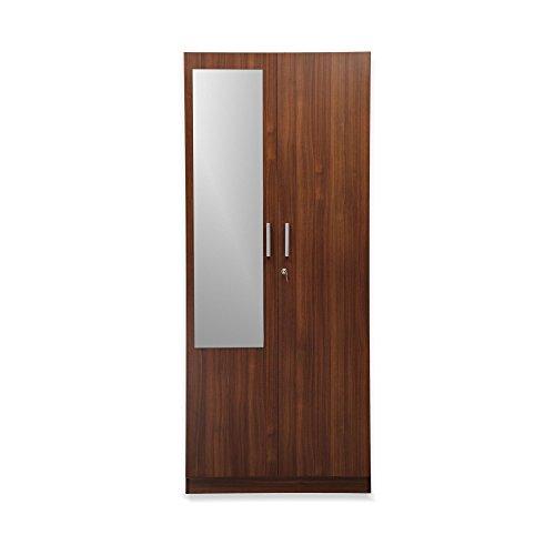 Nilkamal Reegan 2-Door Wardrobe with Mirror (Walnut Finish, Brown)  available at amazon for Rs.14232