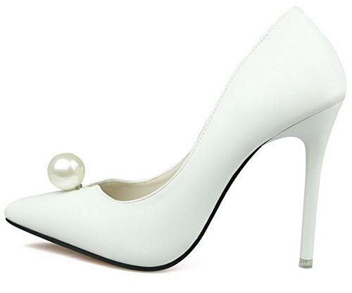 AalarDom Damen Mittler Absatz Spitz Zehe Ziehen Auf Blend-Materialien Pumps Schuhe Weiß-Juwelen