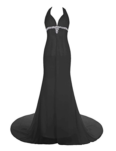 Dresstells, Robe de soirée Robe de cérémonie style halter dos nu traîne moyenne emperlée Noir