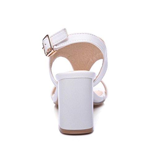 COOLCEPT Damen Mode T-Spangen Riemchen Sandalen Blockabsatz Slingback Open Toe Schuhe Gr White