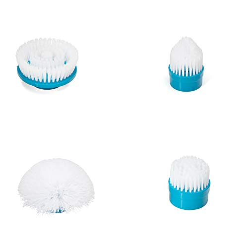 Pristino ricambio 4set-cordless power scrubber brush set–4testine pulire qualsiasi superficie–giri/min velocità spin lavaggi per bagno, cucina, patio, pneumatici, pavimenti con facilità