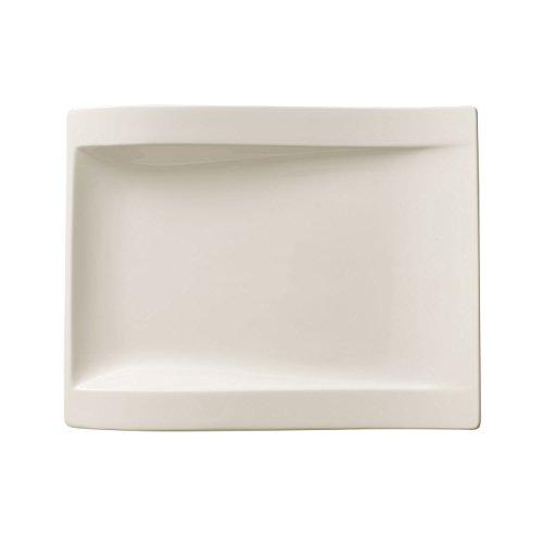Villeroy & Boch - assiette de petit-déjeuner rectangulaire NewWave, assiette en porcelaine pour les petits plats, compatible lave-vaisselle et micro-onde, blanc, 26 x 20 cm