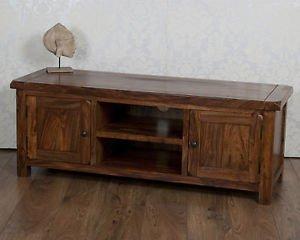 Classically Modern Valencia Solid Sheesham Rosewood Plasma Wide Tv Bench