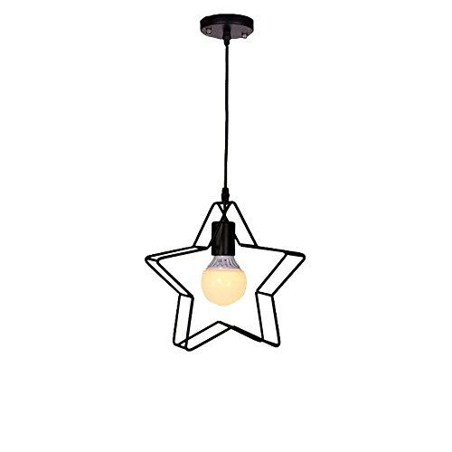 HJXDtech - Lumière suspendue vintage industrielle avec cage étoile en métal Cuisine Salle à manger Loft Bar lampe de plafond (Pendentif simple)