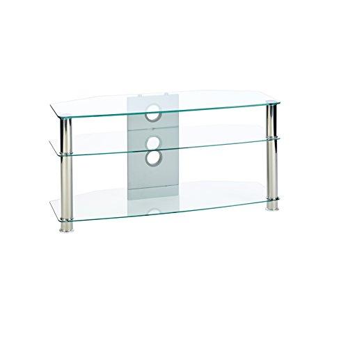 MMT Glass TV-Tisch Fernsehtisch Regal (durchsichtig) - Passend für 32 bis 47 Zoll LCD LED 3D Plasma Flachbildfernseher - 1000mm breit
