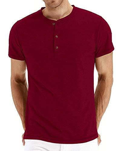 Einfarbiges Rundhals-T-Shirt für Herren mit V-AusschnittHerren Kurzarm T-Shirt Rot XL (Kleine Spongebob Walking)