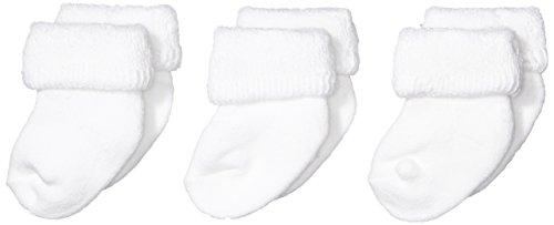 Melton Unisex - Baby Socken Terry, 3er Pack, Einfarbig, Gr. One size, Weiß (white 100)