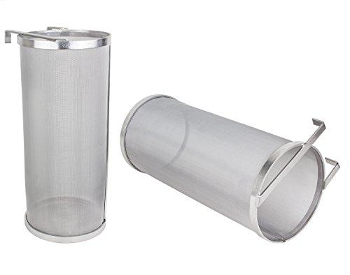 Beeketal \'BBF-1\' Bier Hopfen Filter Feinsieb aus Edelstahl mit sehr feinem 300 Mikron Siebgewebe (ca. 350 x 150 x 150 mm), Bierfilter z.B zum Klären von Maischeresten, mit Halterung zum Einhängen