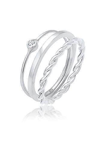 Elli Damen-Stapelring Twisted Solitär- Band 925 Silber Kristall weiß Gr. 52 (16.6) - 0604781917_52
