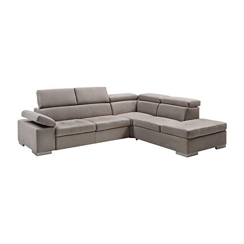 Casarreda divano letto angolare mod. isabel con chaise longue dx ecopelle spessorato polvere
