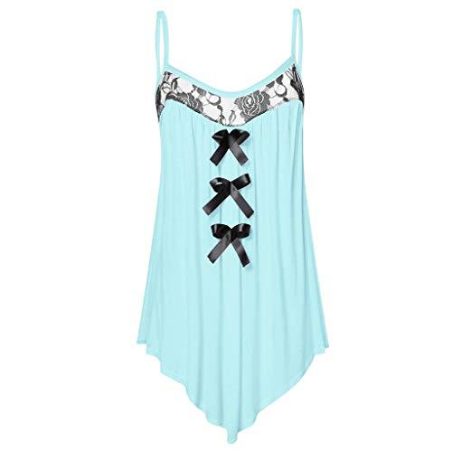 iHENGH Damen Top Bluse Bequem Lässig Mode T-Shirt Sommer Blusen Frauen ärmellose Spitze Panel Bowknot verziert Cami Tank Tops(Blau, 2XL) -