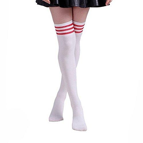(HugeStore Damen Frauen Lange Streifen Socken Overknee Strümpfe Kniestrumpfe Strumpfhose Socken weiß Rot)