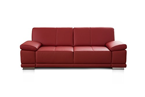 Cavadore 3,5-Sitzer Ledersofa Corianne / Großes Echtleder-Sofa im modernen Design / Mit verstellbaren Armlehnen / Größe: 248 x 80 x 99 (BxHxT) / Bezug:...