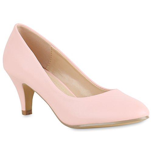 Klassische Damen Pumps Basic Leder-Optik Schuhe Stiletto Mid Heels 154326 Rosa 37 Flandell