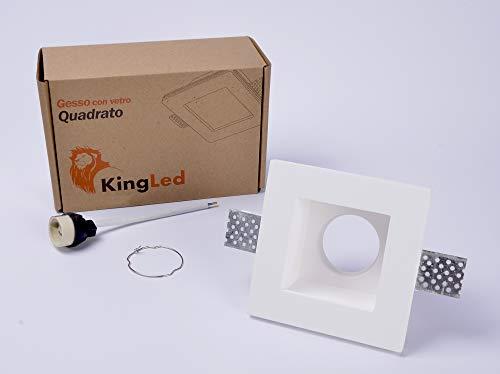 KingLed - Portafaretto da Incasso In Gesso Quadrato con Vetro Opalino per Faretto Gu10 e Mr16 Cod. 1425