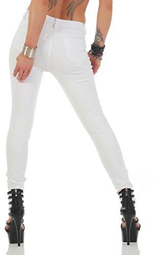 11169 Fashion4Young Knackige Damen Jeans Röhrenjeans Hose Stretch-Denim Skinny Röhre Weiß