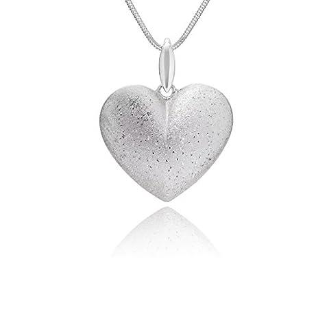 LillyMarie Damen massive Silberkette Silber Herz-Anhänger längen-verstellbar hochwertiges Etui aus