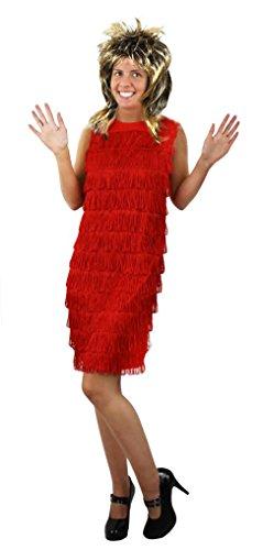 ILOVEFANCYDRESS 80iger Jahre Rock POP Diva Set= 4 VERSCHIEDENEN Kleider +Rock Queen PERÜCKE= FRANSEN ODER Pailetten Kleid=KOSTÜM VERKLEIDUNG Glam Rock =ROTES FRANSEN - Queen Of Rock Kostüm