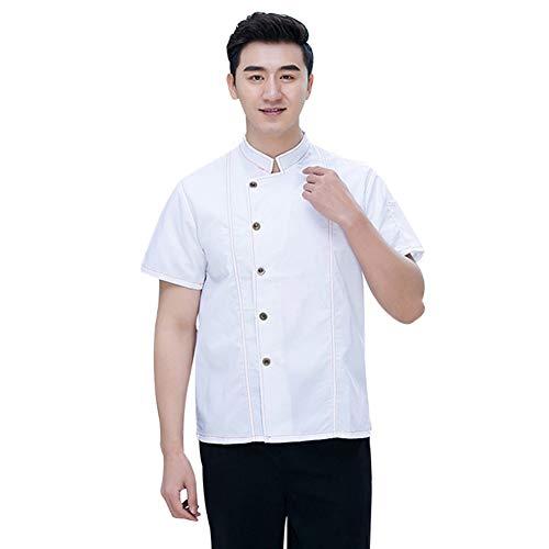 Bäckerei Konditor Köchin Tragen Sie Koch Uniformen Jacke Kurzarm Hotel Restaurant für Frauen und Männer Küche Kleidung,White,M - Mens White Denim Jacket