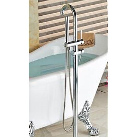 tougboo e al dettaglio in ottone cromato lucido bagno vasca rubinetto vasca da pavimento W/doccetta orientabile Clear