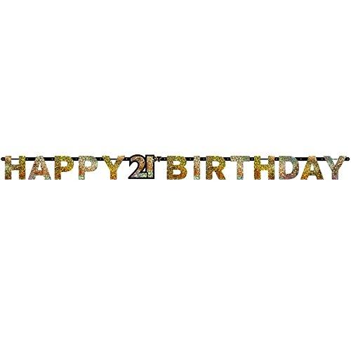 matischer Buchstaben-Banner, goldfarben, zum 21. Geburtstag, Happy Birthday, 2,4m x 16cm ()