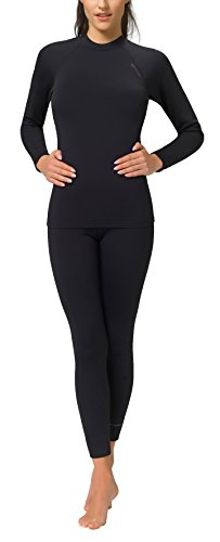 Gwinner Damen Warmline Thermounterwäsche-Set Langarmshirt und Leggins Top I/Top II, schwarz, S