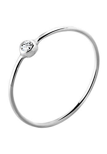 Elli Damen Schmuck Ring Stapelring Filigran Minimalistisch Silber 925 Swarovski Kristalle Weiß Größen 42 44 46 48 50 52 54 56 58