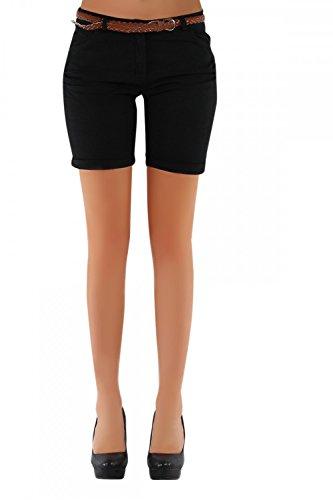 DANAEST Damen Shorts, Chino Hosen inkl. div. Gürtel ( 279 ), Grösse:40 L;Farbe:Schwarz