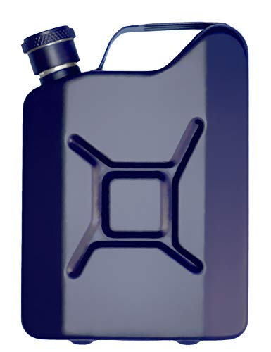 Outdoor Saxx® – Petaca de Acero Inoxidable con Aspecto de bidón de Gasolina, Botella para Whiskey en Caja de Regalo, 50 ml, Color Azul