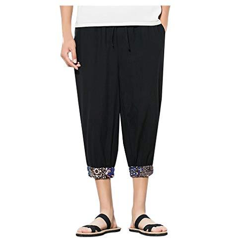 Pantaloni Lino Uomo YU'TING ☀‿☀ Giacca di Lino Jean Uomini Casual Spiaggia Pantaloni Pantaloni Estivi Leggeri Estivi