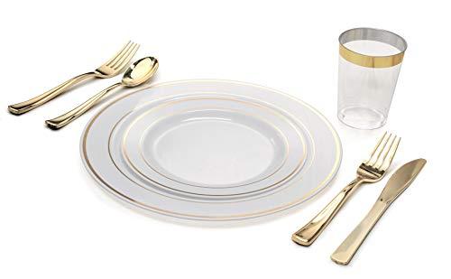 Occasions 280 Stück / 40 Gast - Full Set - Hochzeit Einweg-Kunststoff-Platten, Gold Plastiktafelsilber, Gold umrandet Tumblers (Combo A, Weiß und Gold) - Hochzeit Kunststoff-platten