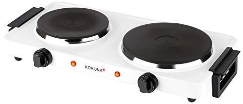 Korona 59040 Doppelkochplatte in weiß-Elektrische Kochplatte mit 2500 Watt